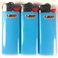3 Baby Blue Mini Bic Lighters - Small Size Solid Sky Blue Made in France