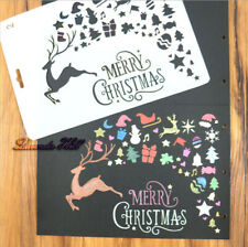 Christmas Xmas Reusable Card Making Stencils Raindeer Tree New Year Paint Draw