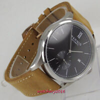 42mm PARNIS Black Dial Steel Case Date ST 1730 Automatic Movement men's Watches
