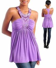 K15 -S/Small- Lilac/Purple,Beads,Stretch Baby-Doll Blouse