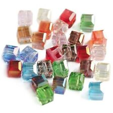 100pcs Cube Crystal Beads Square Faceted Spacer Jewelry Makings Assorted 6mm PW