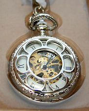 Skeleton Silvtone Railroad Wind Pocket Watch NOS 2000s American Historic Society