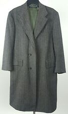 BROOKS BROTHERS Mens Vintage Wool Gray Herringbone Long Overcoat 38SH