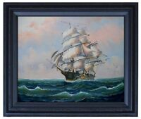 Framed Sailboat on Sea 11, Quality Hand Painted Oil Painting 16x20in