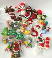 Hand Made Christmas Ornament Lot of 30 Vtg Santa Angel Bell Wreath Crochet More
