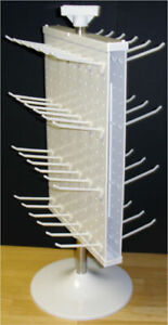 2 Sided Plastic White Counter Top Peg Board Spinner Rack Display with Hooks