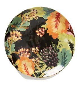 "Anthropologie Black Floral Henriette Dinner Plate - Multiple Available 10"""