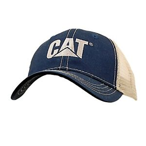 Embroidered CAT Construction Cap Tan & Green Adjustable Trucker Baseball Hat