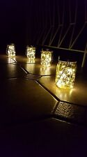 SOLAR GLASS HANGING JAR Lantern Copper Wire 30 LED Lights Inside NEW  100% AUST