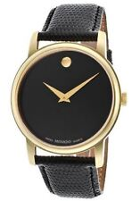 Movado 2100005 Museum Black Dial Black Leather Mens Watch