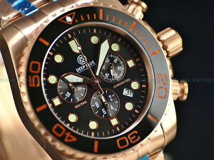 NEW Deep Blue Sea LE # 0047 Swiss Chrono Rose Tone Ceramic Bezel Sapphire Watch