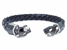 Unisex Simulated Diamond Panther Head Leather Band Bracelet In Black Gold Finish