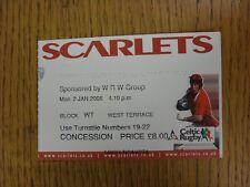 02/01/2006 Ticket: Rugby Union - Llanelli Scarlets v Cardiff Blues. This item ha