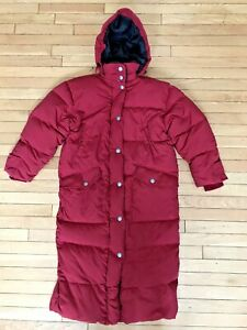 Women's EDDIE BAUER size S/Petite Long Red DOWN Hooded Puffer Coat PARKA WPL9647