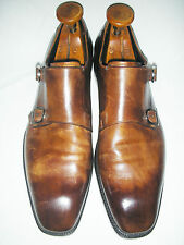 $1200 – ERMENEGILDO ZEGNA COUTURE BROWN BURNISHED LEATHER DOUBLE MONKS 9 ½ U.S.