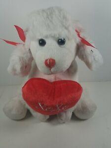 "Plush Poodle Valentine Heart Stuffed Animal Toy Dog Small 8"""