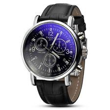 Men`s Nary Silver Sport Quartz Dark Blue Dial Black Leather Band Wrist Watch.
