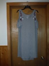 Short Sleeve Cold Open Shoulders Dress LG Sonoma Grey Floral Embroidery NWT