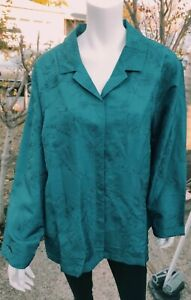 Silhouettes Teal Silk Embroidery Tunic Top Plus Size 2X