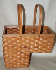Country Style Woven Stair Step Basket organizer for on Stairs with Handles
