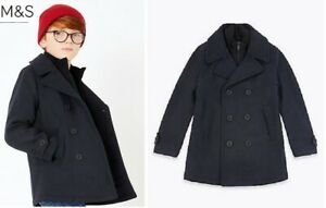 Boys jacket coat wool blend M & S pea coat navy 3 - 12 years formal warm collar
