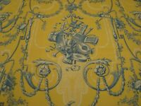 "One yd P Kaufmann Fabric French Toile Musical Blue yellow Drapery 54"" x 36"" BTY"