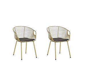 Set of 2 Metal Dining Chairs Gold Wire Backrest Faux Leather Seat Pad Hoback