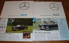 Original 1963 Mercedes Benz S SE Sales Brochure Lot of 4 63