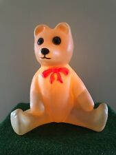 """Vintage Union 18"""" Lighted Blow Mold Bear with Red Bow Yard Decoration #A"""