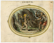 Antique Print-LOVE DIVERTED-FEAR-SOLDIER-CUPID-SPEAR-SWORD-Veen-1608