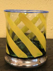 MACKENZIE CHILDS Glass TUMBLER/LOWBALL Rate Yellow Stripes