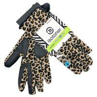 Isotoner Women's Smartouch Fleece Leopard Gloves Microluxe Faux Sherpa Lined