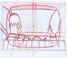Simpsons Family Car Hood Original Art Animation Production Pencils Rough Comps