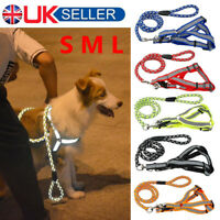 Nylon Reflective Dog Leash Harness Lead Collar and Safety Puppys Pet Security UK
