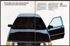 1986 AUDI Vintage Original 2 page Print AD - Black car photo French Canada