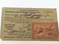 State of Washington 1938 Hunting & Fishing License Duck Stamp