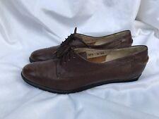 Salvatore Ferragamo Womens Shoes Black Leather Lace Up Oxfords Flats Boutique 8