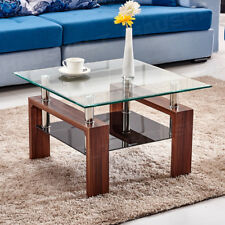 Square Coffee Table Lower Shelf Tempered Glass MDF Side Table Living Room Brown