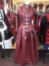 Misfitz burgundy wine leather look padlock mistress ballgown size 18 TV Goth CD