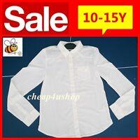 ※132※Girls Quality School WHITE Long Sleeve Slim Shirt Uniform 10-15Y RRP£9.99