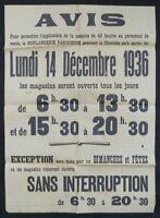 Affichette originale AVIS BOULANGERIE PARISIENNE 1936 PARIS 40h  old poster
