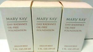 3 Mary Kay Day Radiance Oil Free Foundation Delicate Beige #6347 1oz NEW