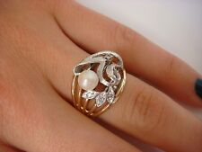 VINTAGE 10K TWO-TONE GOLD PEARL AND DIAMONDS WIDE LADIES RING, 7.1 GRAMS