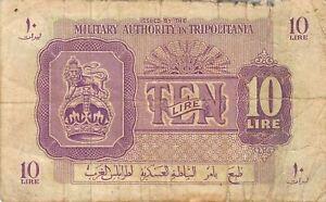 Libya  10 Lira  ND. 1944  M 4 circulated Banknote 2D2