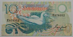 """SEYCHELLEN: 10 Rupien seit 1977 """"SEEVOGEL"""", kassenfrisch/unc."""
