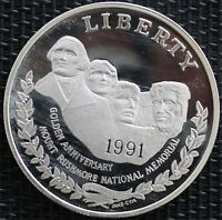 USA ONE DOLLAR LE MONT RUSHMORE 1991 ARGENT