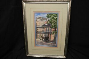 1988 14x18 Framed Linda Wheeler Matted Signed New Orleans Street Print 7x11