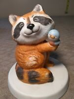 Vintage Sunny Animals RACCOON Holding a Bluebird Figurine by Heartline