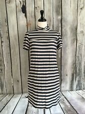 Ella Moss Striped Babydoll Shift Dress Blue Ivory Lined Mock Neck Womens Med M