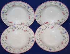 """LOVELY SET OF 4 JOHNSON BROTHERS ENGLAND SUMMER CHINTZ 8 1/2"""" RIMMED SOUP BOWLS"""